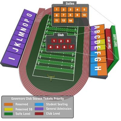 APSU Fortera Stadium Seating Graphic