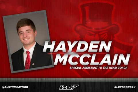 Austin Peay Men's Basketball announces Hayden McClain to return as Special Assistant to Matt Figger. (APSU Sports Information)