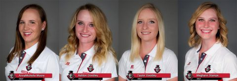 Austin Peay Women's Golfers AnnaMichelle Moore, Ashton Goodley, Taylor Goodley, and freshman Meghann Stamps. (APSU Sports Information)