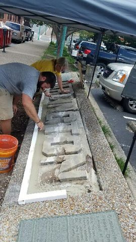 Arlington monument stones being restored.