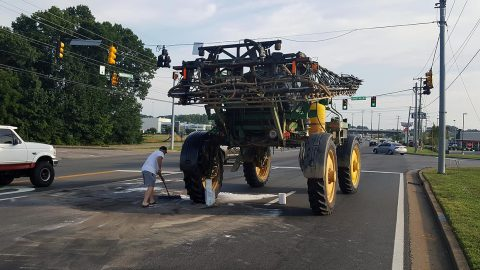 A disabled farm vehicle is blocking all three lanes of south bound Wilma Rudolph Boulevard. It is expected to be moved by 10:00pm.
