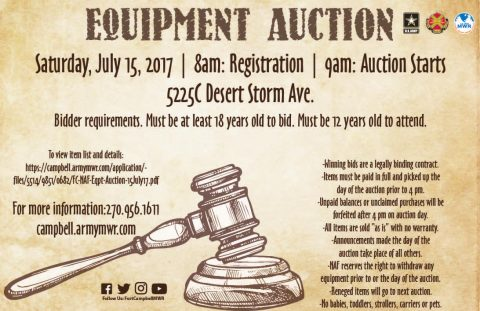 Fort Campbell MWR  NAF Equipment Auction - July, 2017