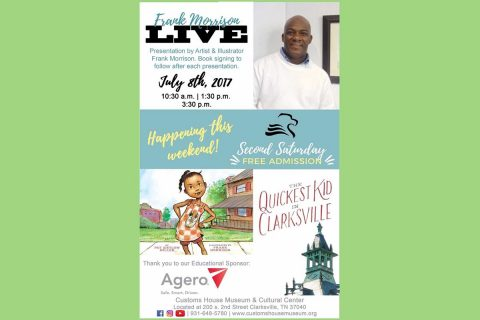"""Illustrator Frank Morrison to Speak on """"The Quickest Kid in Clarksville"""" at the Customs House Museum Saturday, July 8th, 2017."""