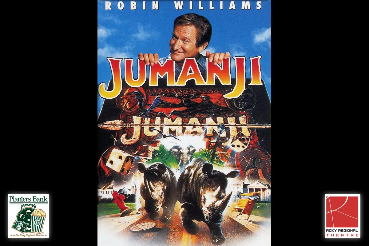planters bank presents to show jumanji at the roxy regional theatre this sunday july 23rd. Black Bedroom Furniture Sets. Home Design Ideas