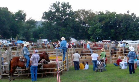 Horse enthusiasts enjoy an evening of rodeo fun during Wranglers Primitive Rodeo in July. (LBL)