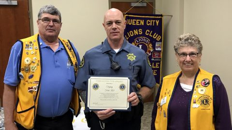 Montgomery County Sheriff's Deputy Dale Tuel receives the Lions Cub Award.