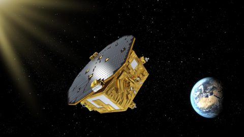 An artist's concept of the European Space Agency's LISA Pathfinder spacecraft, designed to pave the way for a mission detecting gravitational waves. NASA/JPL developed a thruster system on board.