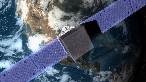 An illustration of NASA's Fermi Gamma-ray Space Telescope orbiting Earth. ( NASA's Goddard Space Flight Center Conceptual Image Lab)