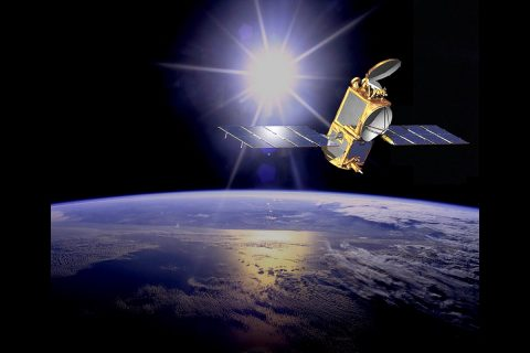 Illustration of the U.S./European Ocean Surface Topography Mission (OSTM)/Jason-2 satellite in orbit. OSTM/Jason-2 will soon take on an additional role to help improve maps of Earth's sea floor. (NASA-JPL/Caltech)
