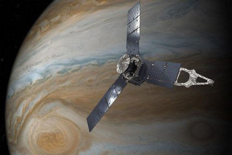 This illustration depicts NASA's Juno spacecraft in orbit above Jupiter's Great Red Spot. (NASA/JPL-Caltech)