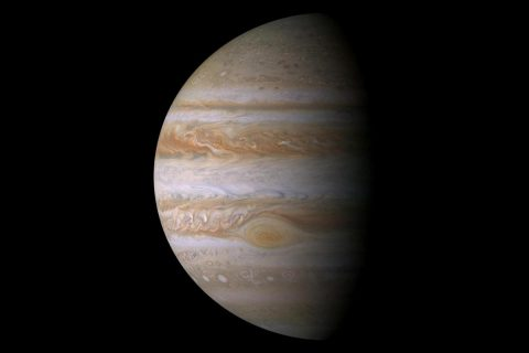 This true color mosaic of Jupiter was constructed from images taken by the narrow angle camera onboard NASA's Cassini spacecraft on December 29, 2000, during its closest approach to the giant planet at a distance of approximately 10 million kilometers (6.2 million miles). (NASA/JPL/Space Science Institute)