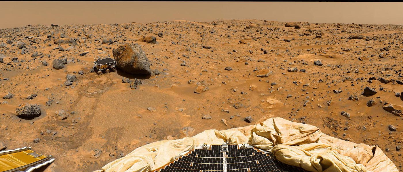 This portion of a classic 1997 panorama from the IMP camera on the mast of NASA's Mars Pathfinder lander includes