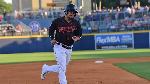 Simon Castro's Ninth Inning Error Proves Costly in Nashville Sounds loss to Omaha Storm Chasers. (Nashville Sounds)