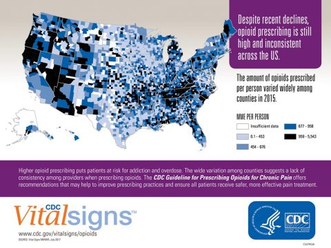 Graphic shows a map of the US. Counties in the US vary regarding the amount of opioids prescribed per person. The amount of opioids prescribed per person varied widely among counties in 2015.