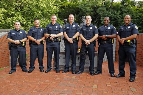 Tennessee Law Enforcement Academy graduates: (L to R) Pedro Torres, Dakota Rasche, Morgan Baker, James Burton, Clint Sutton, Xavier Greaves, and Anthony Harvey.