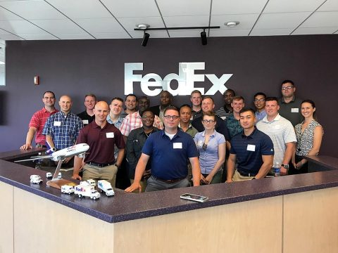 Officers and noncommissioned officers from the Airborne Division (Air Assault) Sustainment Brigade, 101st Abn. Div., pose for a group picture, July 19th, 2017, during their leader professional trip to Memphis, Tennessee for the FedEx HUB Express Experience. (Capt. Alex J. Tompkins)