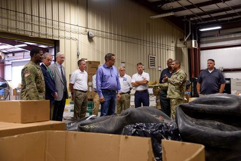 A group of community leaders from the city of Murray, Ky., visit a supply support activity warehouse assigned to the 96th Aviation Support Battalion, 101st Combat Aviation Brigade, 101st Airborne Division (Air Assault) August 9, 2017 at Fort Campbell, Ky. The group visited the facility to gain a better understanding of what Soldiers do on a day-to-day basis. (Sgt. Marcus Floyd, 101st Combat Aviation Brigade)