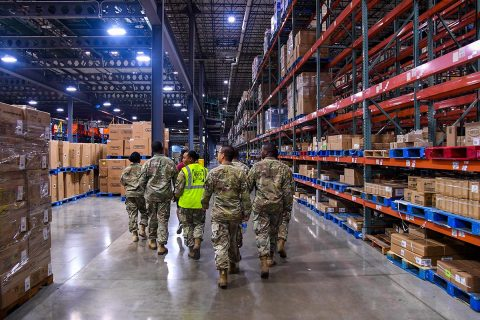 Soldiers assigned to A Company, 96th Aviation Support Battalion, 101st Combat Aviation Brigade, 101st Airborne Division, recently participate in a guided tour of the Hopkinsville, Kentucky Wal-Mart Distribution Center. The Soldiers visited the distribution center to gain a better understanding of how a large-scale distribution network operates, and how it compared to their day-to-day operations in the military. (Sgt. Marcus Floyd, 101st Combat Aviation Brigade)