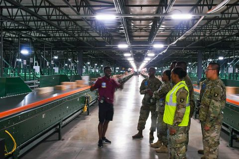 Soldiers assigned to A Company, 96th Aviation Support Battalion, 101st Combat Aviation Brigade, 101st Airborne Division, recently participate in a guided tour of the Hopkinsville, Kentucky Wal-Mart Distribution Center. (Sgt. Marcus Floyd, 101st Combat Aviation Brigade)