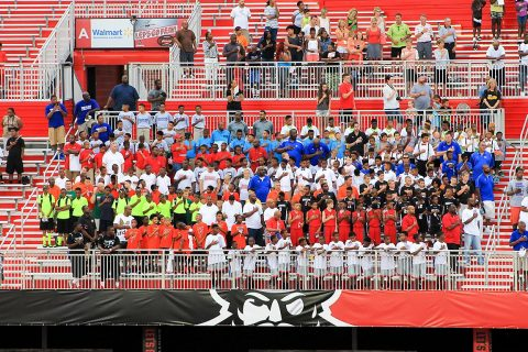 Athletes fill APSU's Fortera Stadium for the AAU Boys Basketball National Championship opening ceremony.