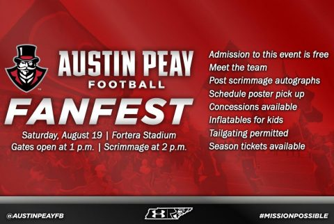 Austin Peay Football Fan Fest to be held this Saturday, August 19th. (APSU Sports Information)