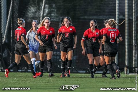 Austin Peay Soccer beats Western Kentucky 2-1 at Morgan Brothers Soccer Field Friday night. (APSU Sports Information)