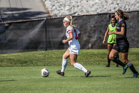 Austin Peay Soccer's Kirstin Robertson hits winning goal in victory over Lipscomb Sunday at Morgan Brothers Soccer Field. (APSU Sports Information)