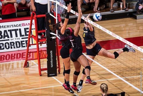 Austin Peay Volleyball takes down No. 19 Missouri at the Dunn Center. (APSU Sports Information)