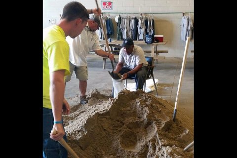 Clarksville Street Department workers prepared sandbags Wednesday for use against expected heavy rains and  flash flooding.