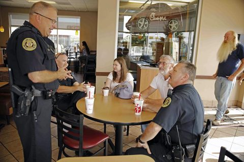 """Coffee with a Cop"" was held Saturday, August 26th at the Chick-Fil-A located on Wilma Rudolph Boulevard."