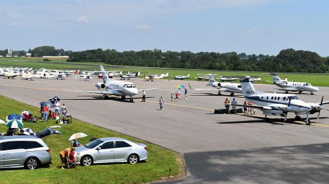A variety of aircraft, ranging from light-sport aircraft to multi- passenger charter jets, flew into Clarksville Regional Airport August 21st to witness the Great American Eclipse of 2017. More than 160 aircraft landed at the airport to view the eclipse, with planes arriving from as far away as England and Canada.
