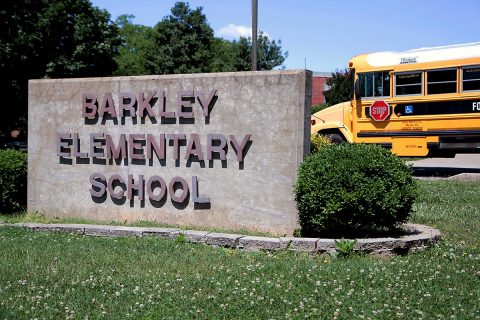 The Barkley Elementary School sign at Fort Campbell. The school will be closing its doors and relocating to a new upgraded 21st century learning style building. (Sgt. Steven E. Lopez, 40th Public Affairs Detachment, 101st Airborne Division (Air Assault))