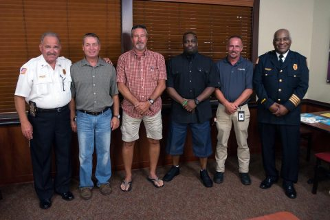 (L to R) Assistant Chief David Clinard, Engineer Wesley Bossard, Lieutenant Johnny Myers, Firefighter Norris Jones, Captain Richard Moler and Deputy Chief Ray Williams.
