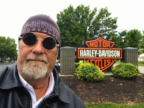 Hank at the Harley-Davidson dealership
