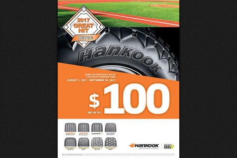 With Hankook Tire's Great Hit Rebate, consumers can save up to $100 on eight of Hankook's most popular passenger and light truck tire models.