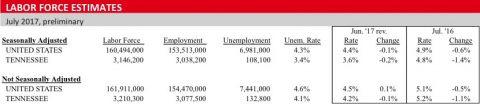 Labor Force Estimates - July 2017