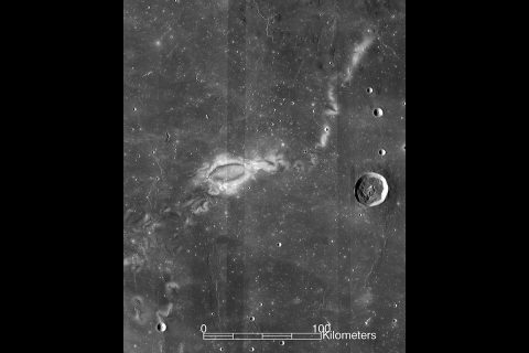 Lunar swirls, such as the Reiner-Gamma swirl imaged by NASA's Lunar Reconnaissance Orbiter, are strange markings on the Moon that a conceptual CubeSat mission would study. (NASA)