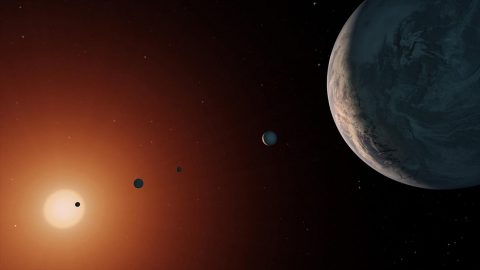 This illustration shows what the TRAPPIST-1 system might look like from a vantage point near planet TRAPPIST-1f (at right). (NASA/JPL-Caltech)