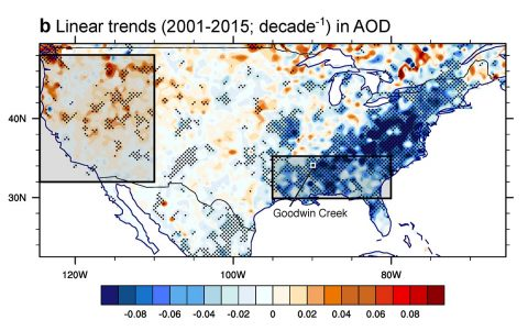 U.S. trends in the optical depth of aerosols from 2001 to 2015 (blue is decreasing, red is increasing). Improvements in regional air quality in the Southeast U.S. may have contributed to warmer temperatures seen in the region since about 1990. (NASA-JPL/Caltech/School of the Art Institute of Chicago)
