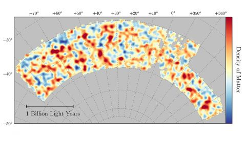 Map of dark matter made from gravitational lensing measurements of 26 million galaxies in the Dark Energy Survey. The map covers about 1/30th of the entire sky and spans several billion light years in extent. Red regions have more dark matter than average, blue regions less dark matter. (Chihway Chang/Kavli Institute for Cosmological Physics at the University of Chicago/DES Collaboration)