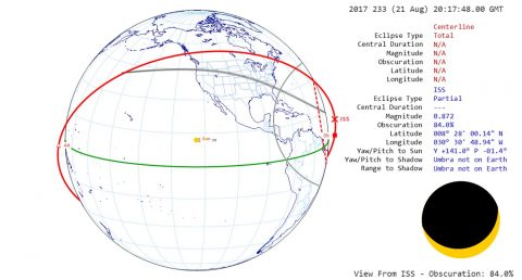 The station crew will have three chances to see the total solar eclipse from space. The third pass will offer the most coverage with the sun 84% obscured by the moon. (NASA)
