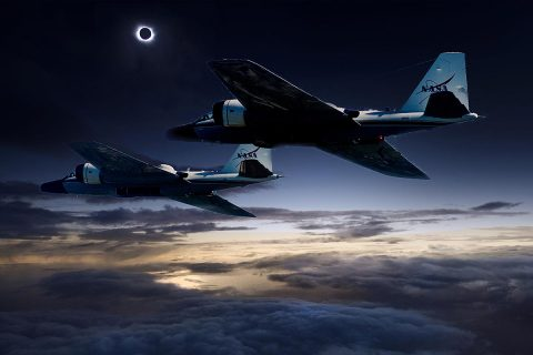 (Photo illustration) During the upcoming total solar eclipse, a team of NASA-funded scientists will observe the solar corona using stabilized telescopes aboard two of NASA's WB-57F research aircraft. This vantage point provides distinct advantages over ground-based observations, as illustrated by this composite photo of the aircraft and the 2015 total solar eclipse at the Faroe Islands. (NASA/Faroe Islands/SwRI)