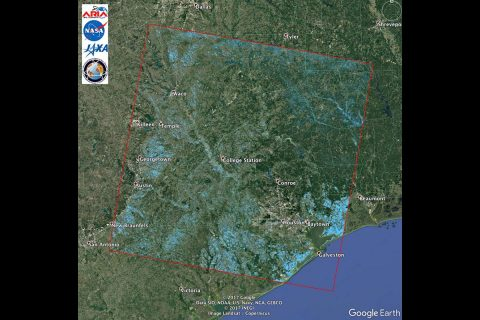 JPL's Advanced Rapid Imaging and Analysis team created this Flood Proxy Map showing areas of Southeast Texas likely flooded from Hurricane Harvey (light blue). The map is derived from radar images from the Japan Aerospace Exploration Agency ALOS-2 PALSAR-2 satellite before and after landfall. (NASA/JPL-Caltech/JAXA/METI/Google Earth)