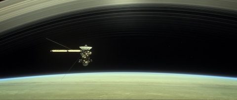 This artist's rendering shows Cassini as the spacecraft makes one of its final five dives through Saturn's upper atmosphere in August and September 2017. (NASA/JPL-Caltech)