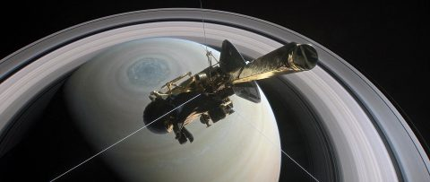 NASA's Cassini spacecraft is shown heading for the gap between Saturn and its rings during one of 22 such dives of the mission's finale in this illustration. The spacecraft will make a final plunge into the planet's atmosphere on September 15th. (NASA/JPL-Caltech)