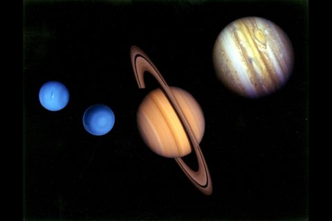 This montage of images of the planets visited by Voyager 2 was prepared from an assemblage of images taken by the 2 Voyager spacecraft. (NASA/JPL)