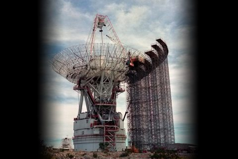 """In order to """"talk"""" with the distant Voyager spacecraft, NASA had to leap forward in space communication technology. In the image above, a 64-meter-wide antenna dish in Goldstone, Calif. is expanded to 70 meters. (NASA/JPL-Caltech)"""