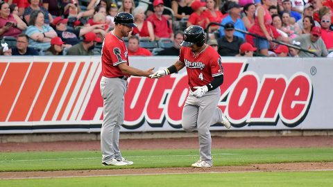 Sounds' Franklin Barreto and Mark Canha Combines for Eight of Nashville's 16 Hits in Win. (Nashville Sounds)