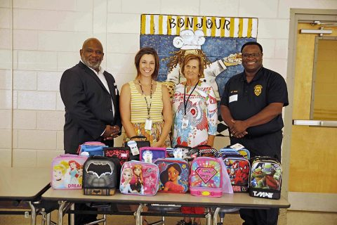 (L to R) James Shelley, Assistant Principal Tearza Baggett, Carol Wallace, and Sgt J.W Hunt.