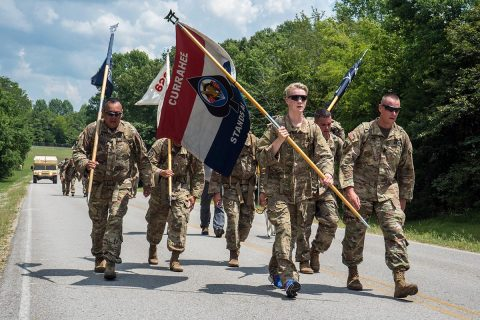 Richard M. McErlean III rucks with leaders of the 2nd Battalion, 506th Infantry Regiment 'Currahee' on Fort Campbell, Ky, Aug 2. McErlean III was made an Honorary Member of the Currahee Regiment after his service to the regiment. (Spc. Patrick Kirby. 40th Public Affairs Detachment)